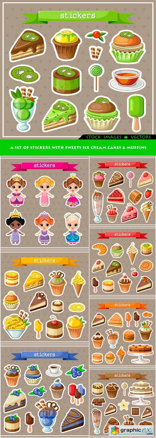 A set of stickers with sweets ice cream cakes & muffins 8x EPS