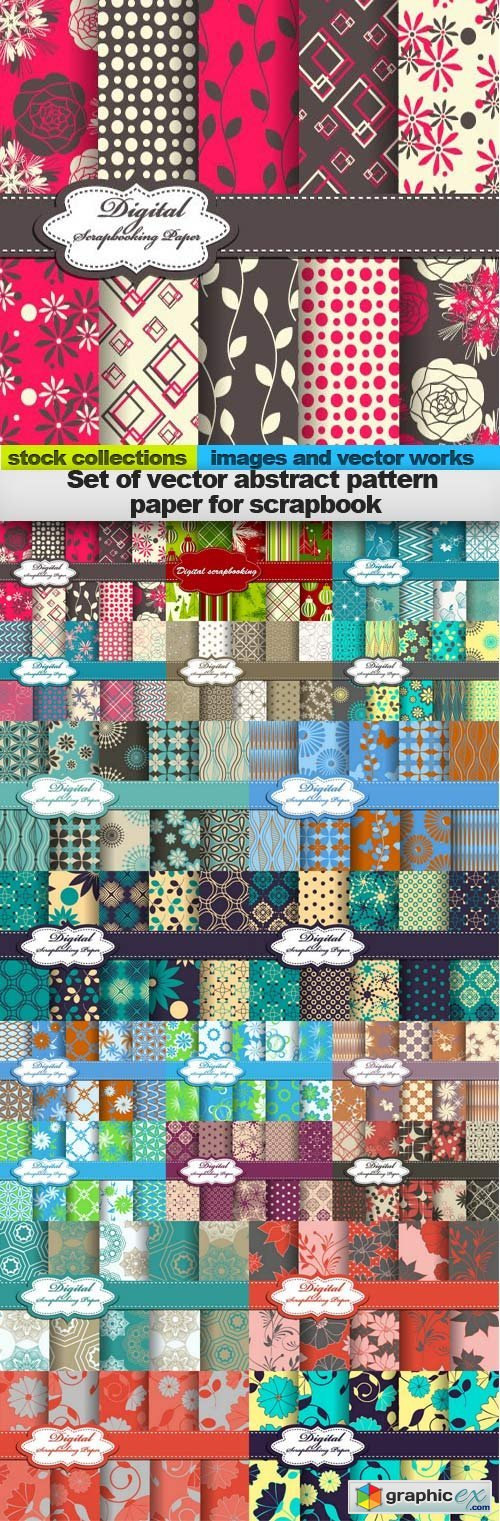 Set of vector abstract pattern paper for scrapbook, 20 x EPS