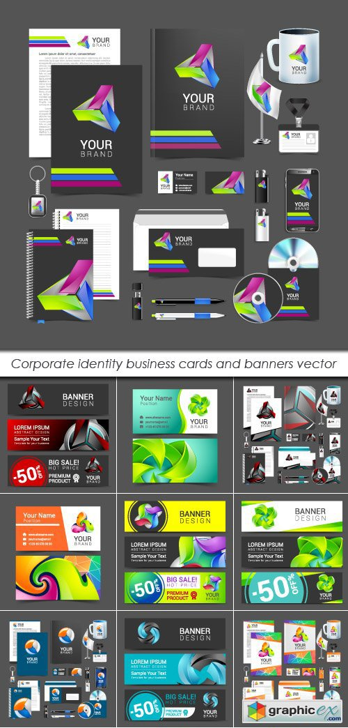 Corporate identity business cards and banners vector