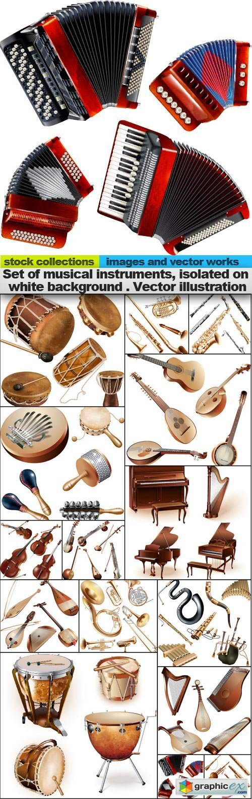 Set of musical instruments, isolated on white background . Vector illustration, 15 x EPS