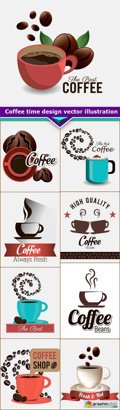 Coffee time, design vector illustration 9x EPS