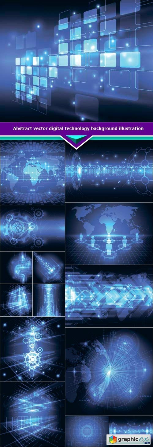 Abstract vector digital technology background illustration 15x EPS