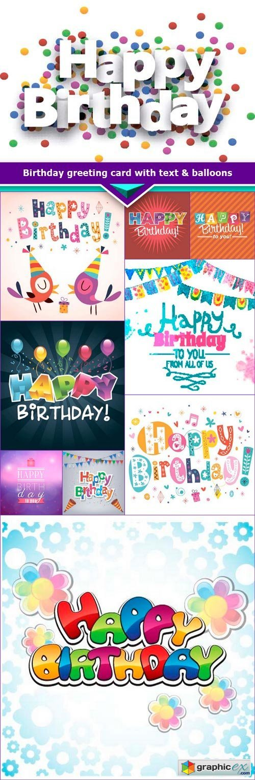 Birthday greeting card with text & balloons 10x EPS