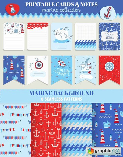 Marine Cards & Patterns Vector