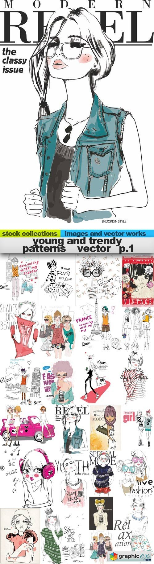 Young and trendy patterns vector 1,25 x EPS