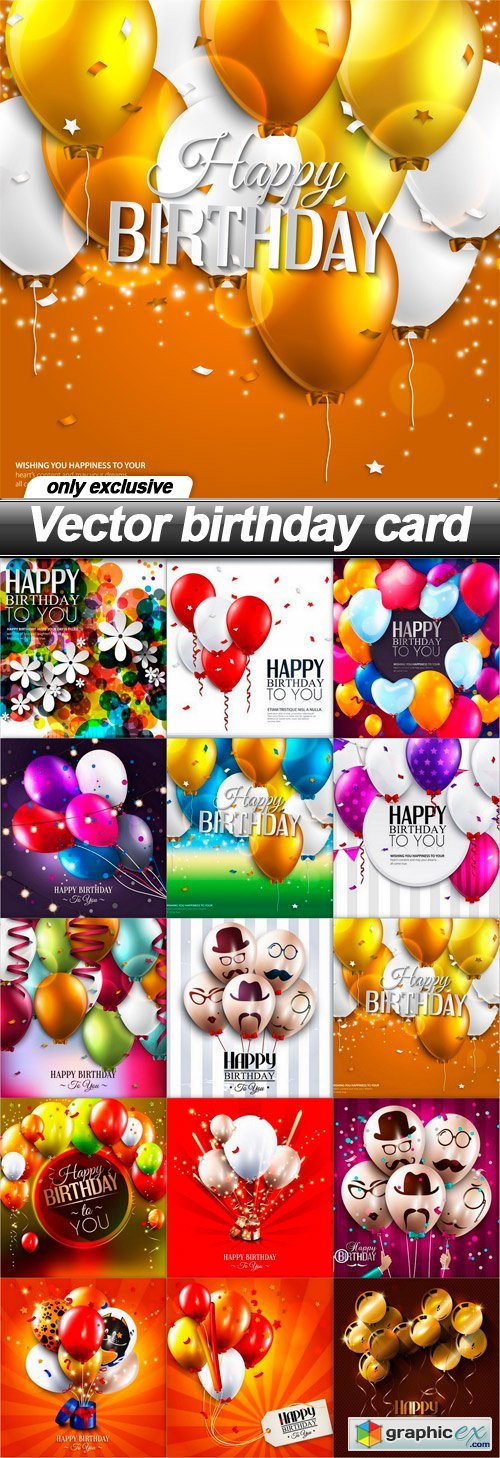 Vector birthday card - 15 EPS