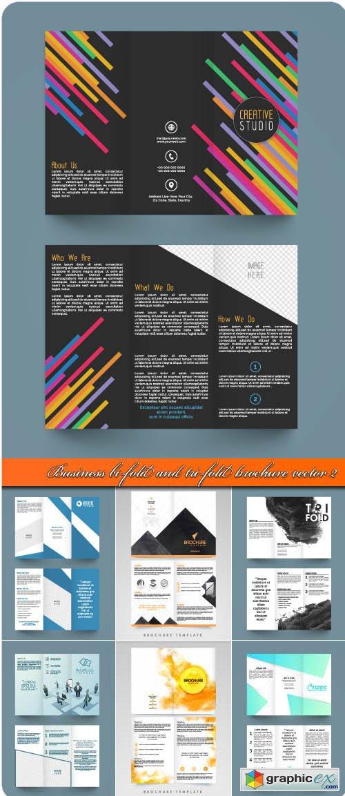 Business bi-fold and tri-fold brochure vector 2