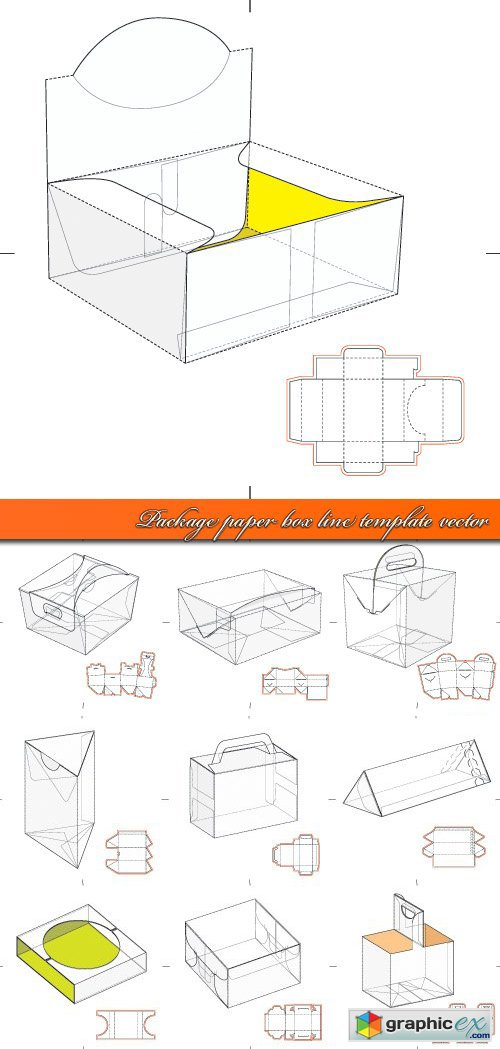 Package paper box line template vector