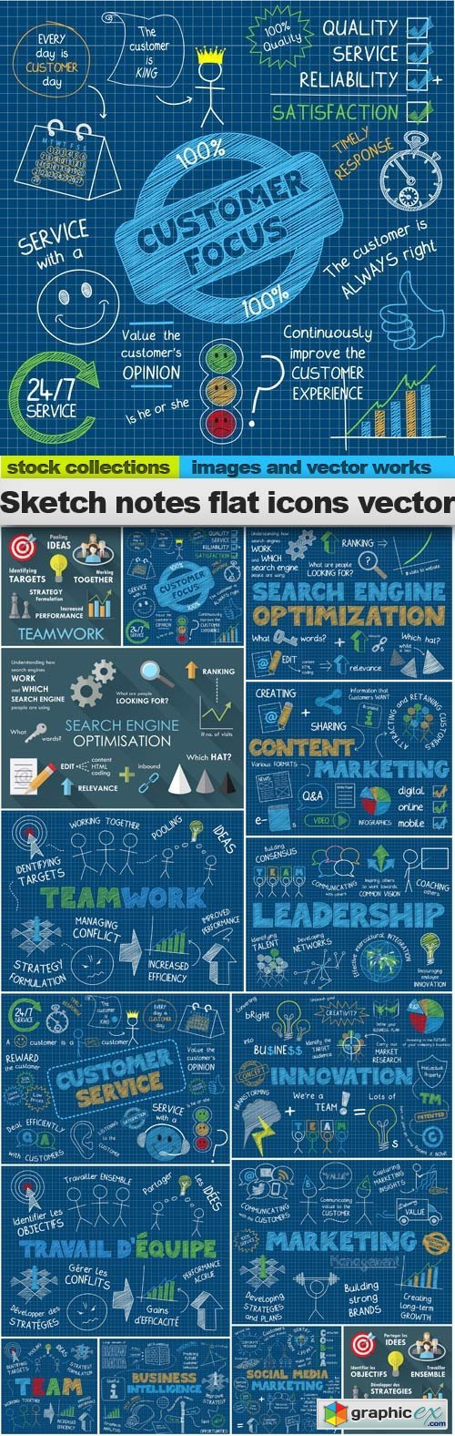Sketch notes flat icons vector, 15 x EPS