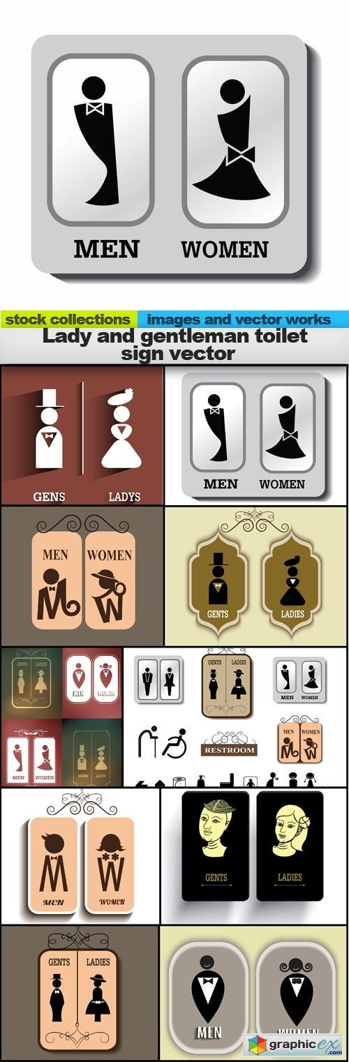Lady and gentleman toilet sign vector, 10 x EPS