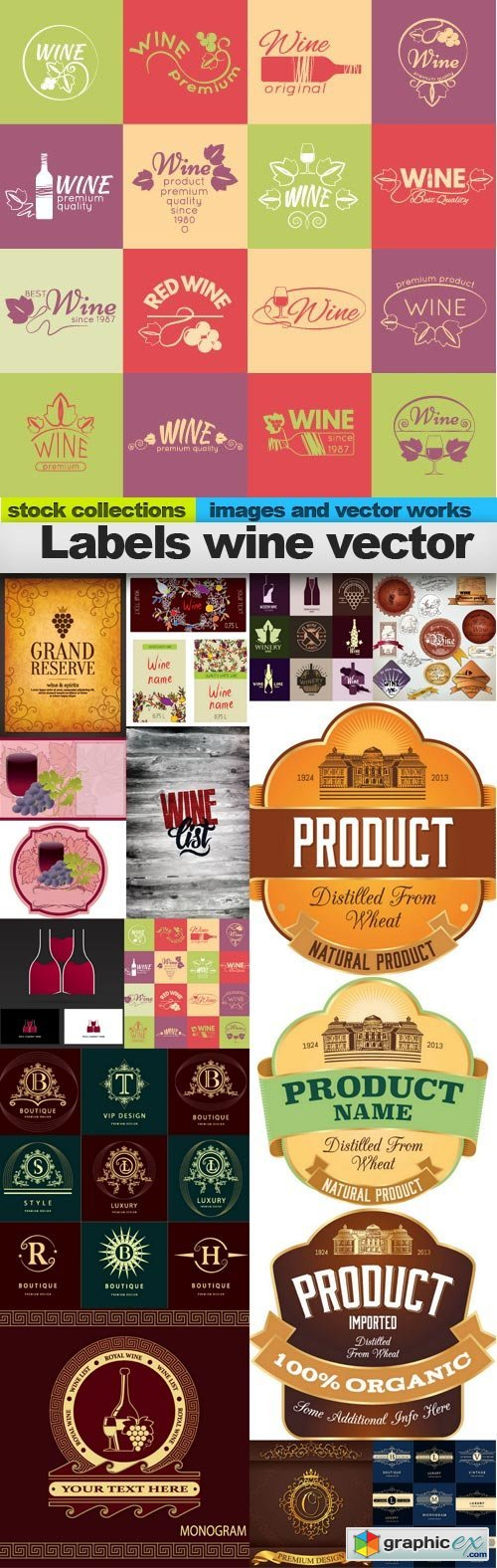 Labels wine vector, 15 x EPS