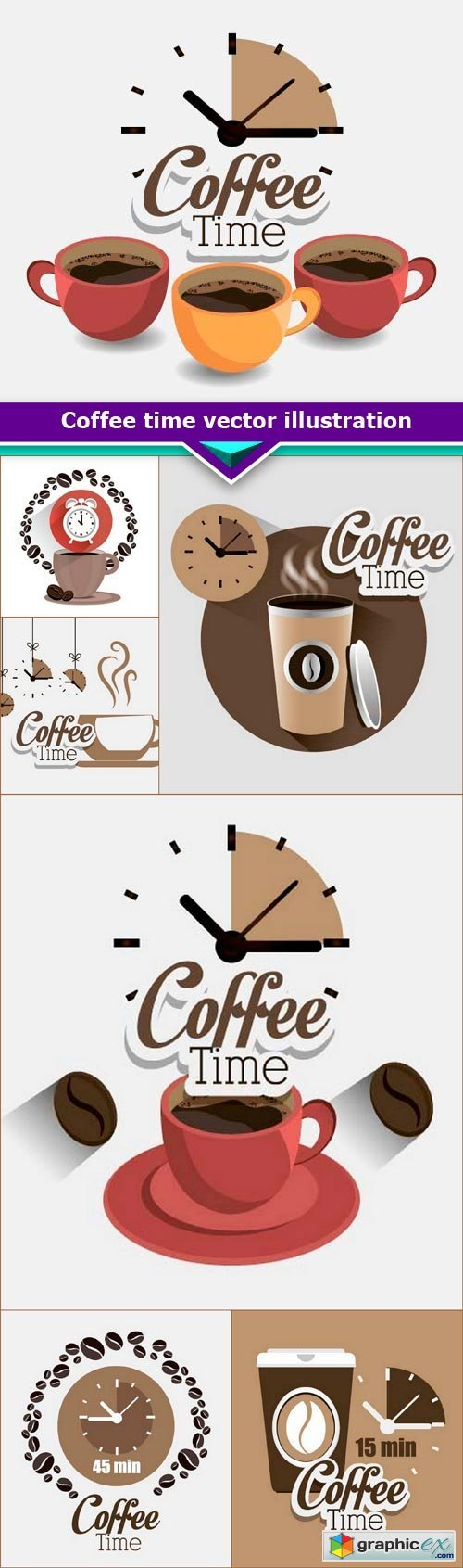 Coffee time vector illustration 7x EPS