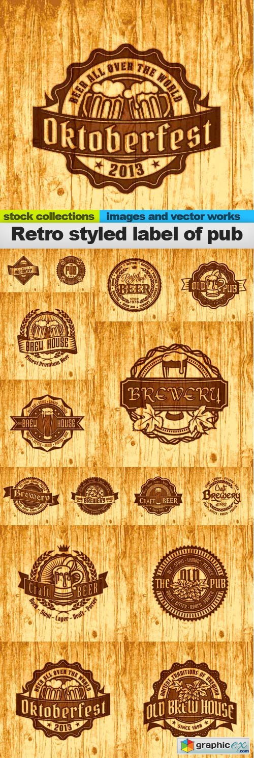 Retro styled label of pub,15 EPS