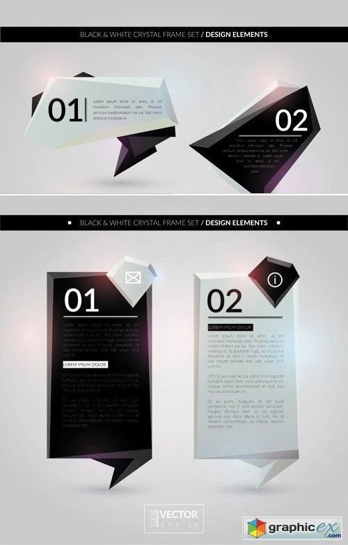 Black and White Crystal Frames Vector