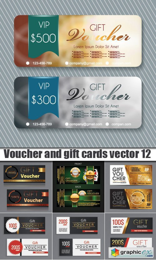 Voucher and gift cards vector 12
