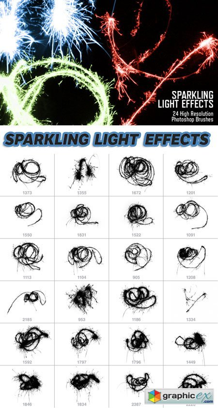 Photoshop Brushes - 24 Sparkling Light Effects (Re-Up)