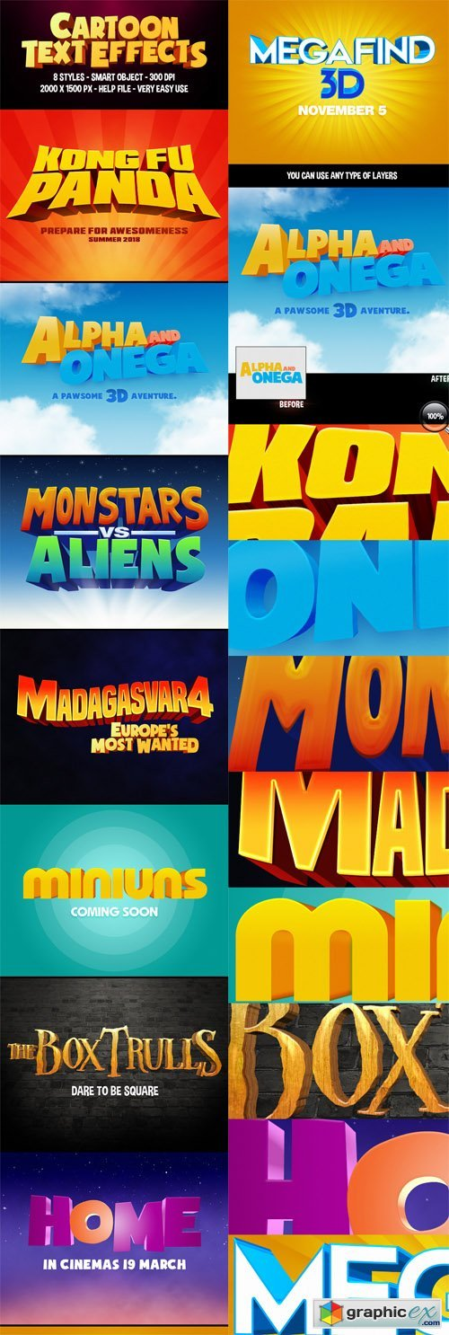 3D Cartoon Text Effects Vol 1 » Free Download Vector Stock