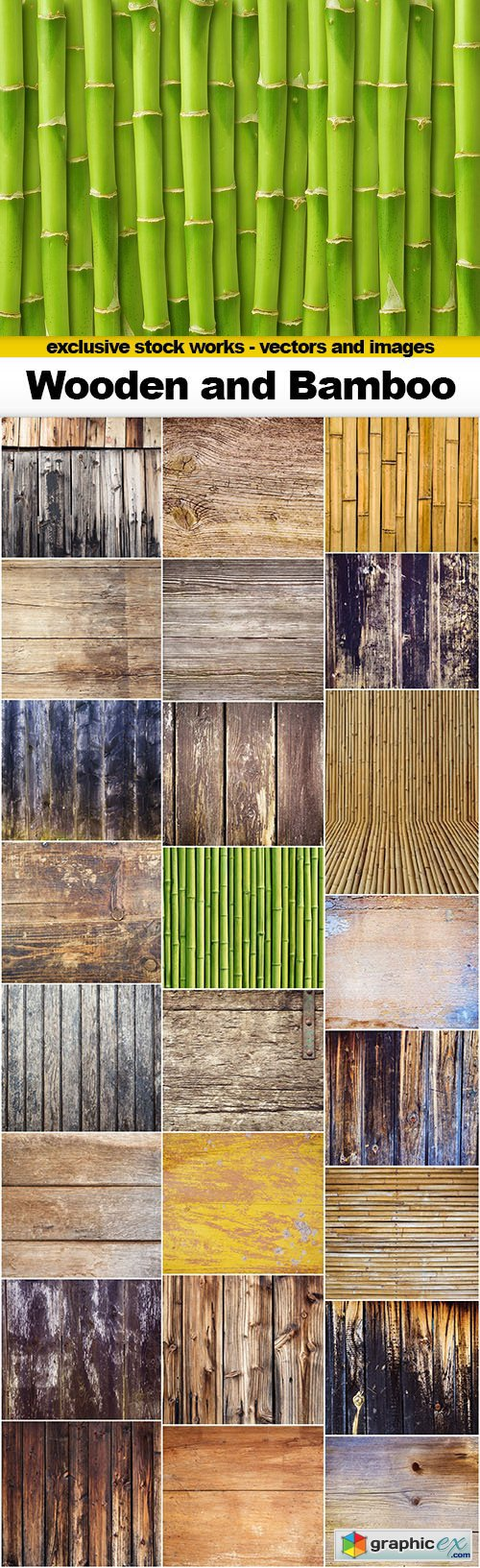 Wooden Boards and Bamboo With Texture - 25x JPEGs