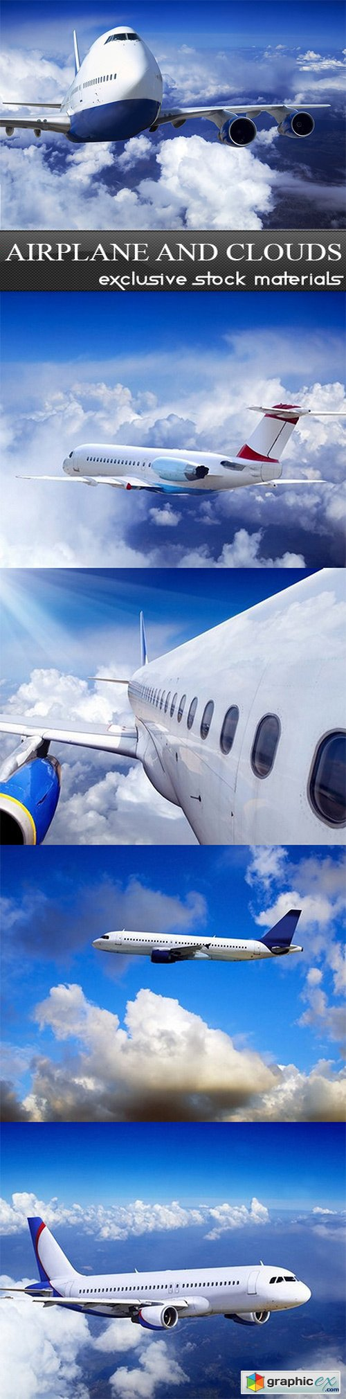 Airplane and Clouds - 5 UHQ JPEG