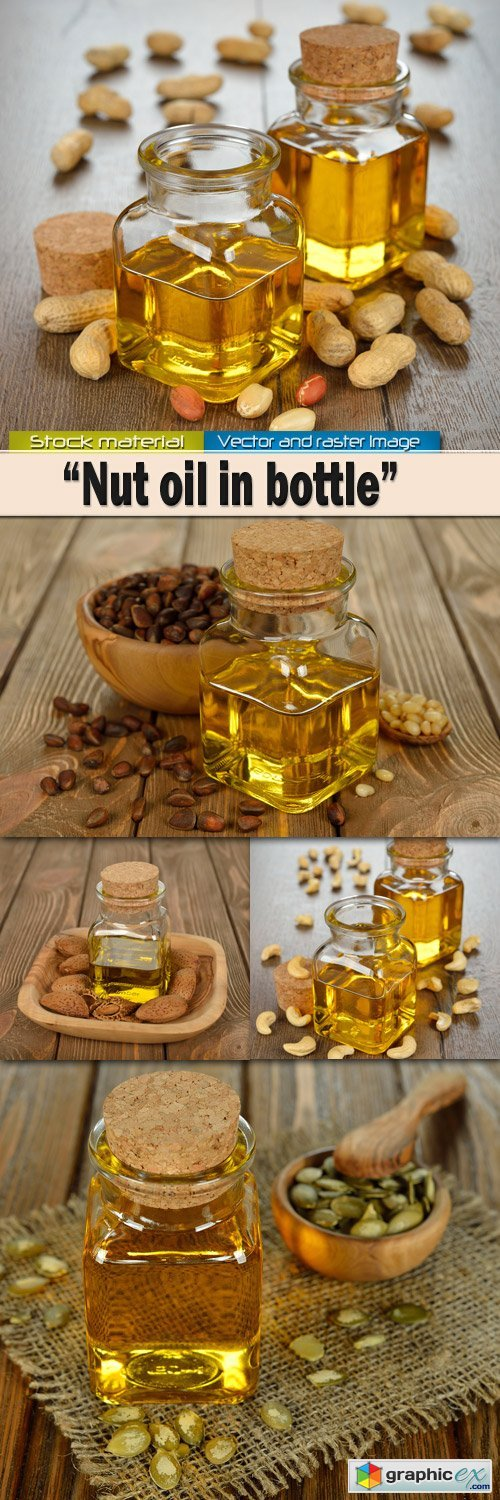 Nut oil in a glass small bottle