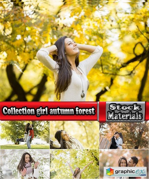 Collection girl woman man couple autumn forest autumn yellow leaf 25 HQ Jpeg