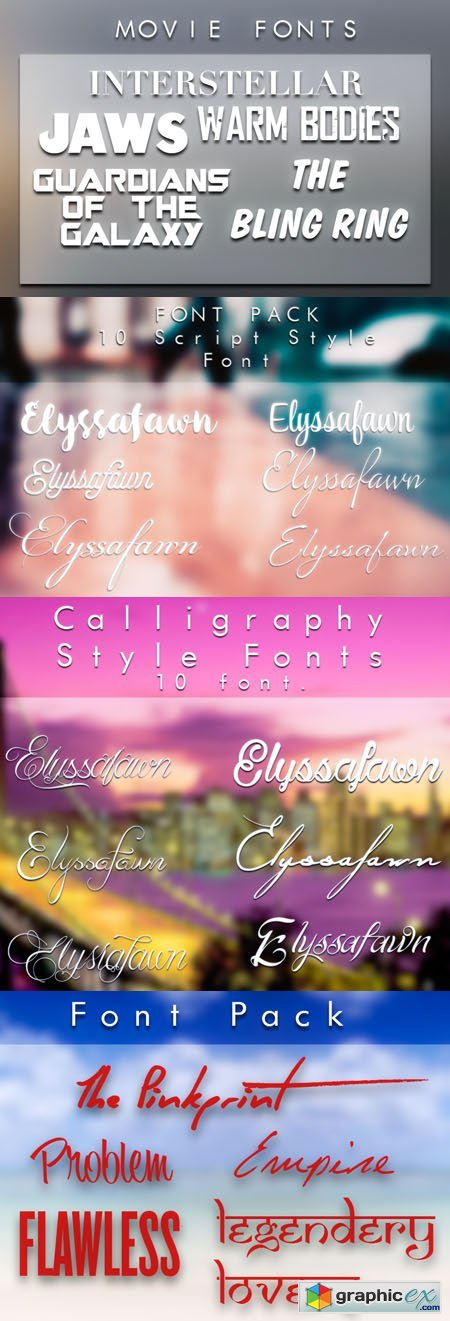 Calligraphy, Script, Movies and Famous Songs Fonts Collection