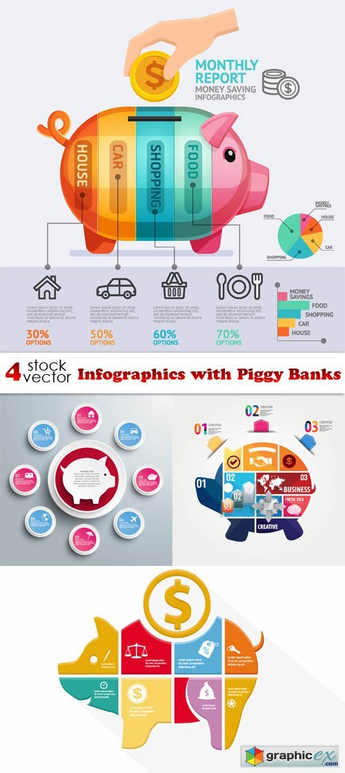 Vectors - Infographics with Piggy Banks