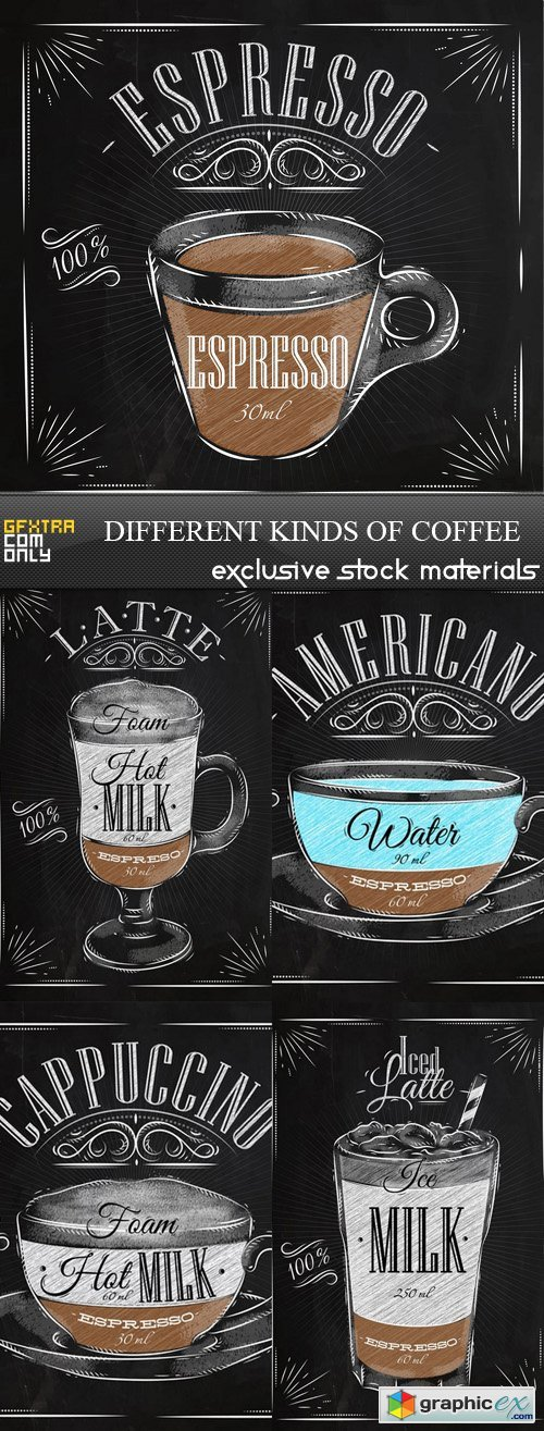 Different kinds of Coffee - 5xEPS
