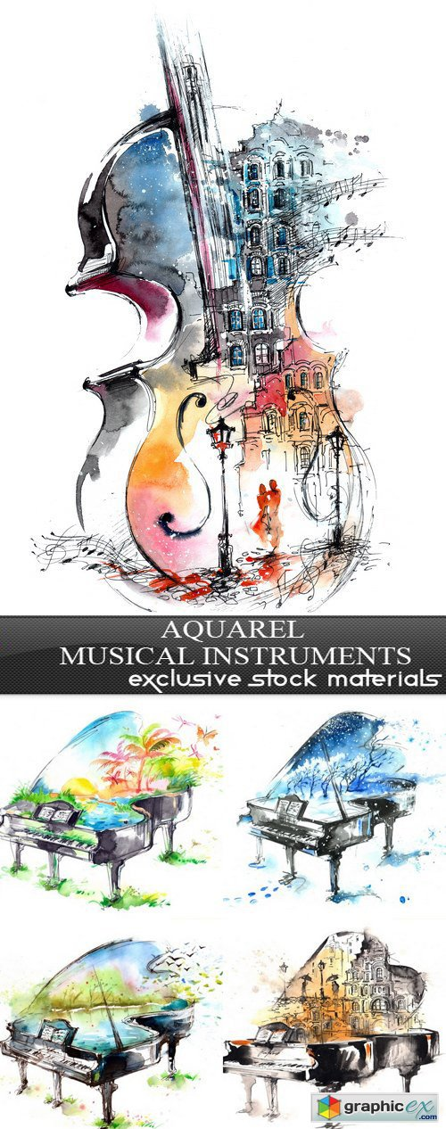 Aquarel musical instruments - 5xEPS