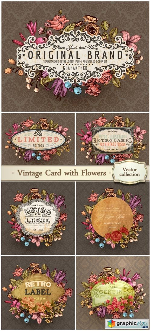 Vintage vector card with engraving flowers