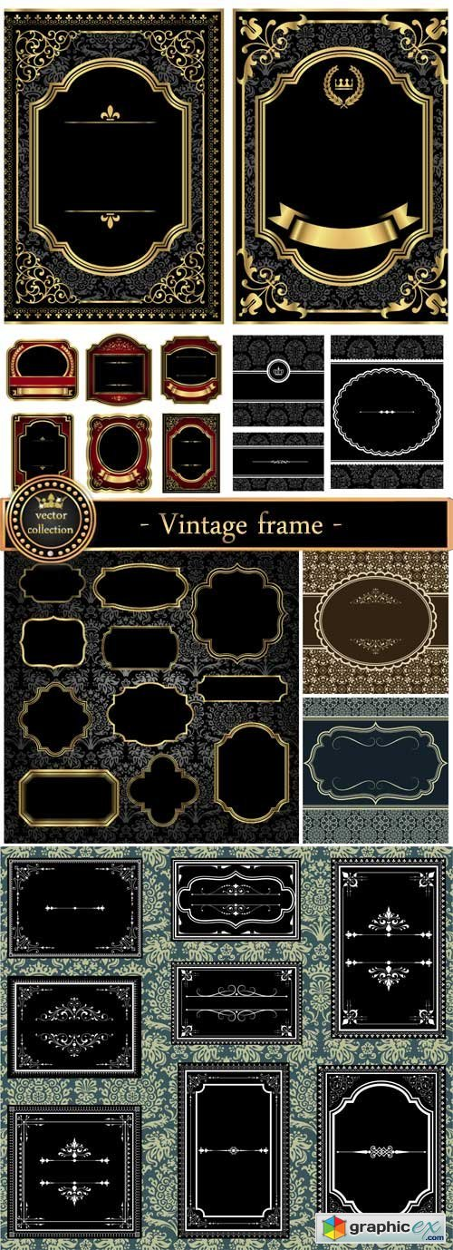 Vintage frame vector, patterns and ornaments