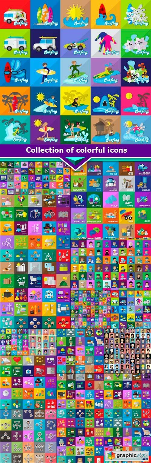 Collection of colorful icons 15x EPS