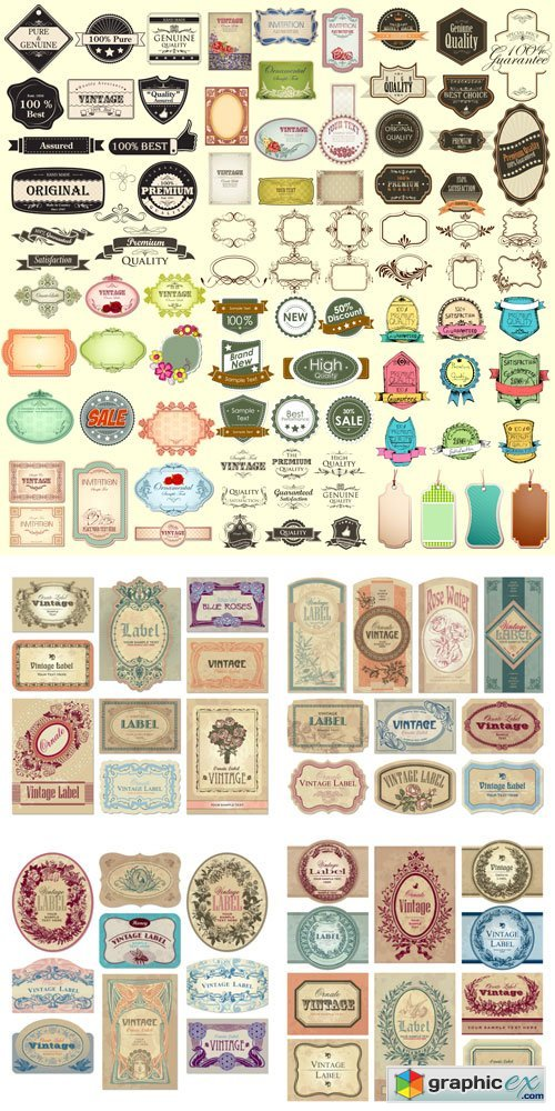 Vintage labels with antique design elements