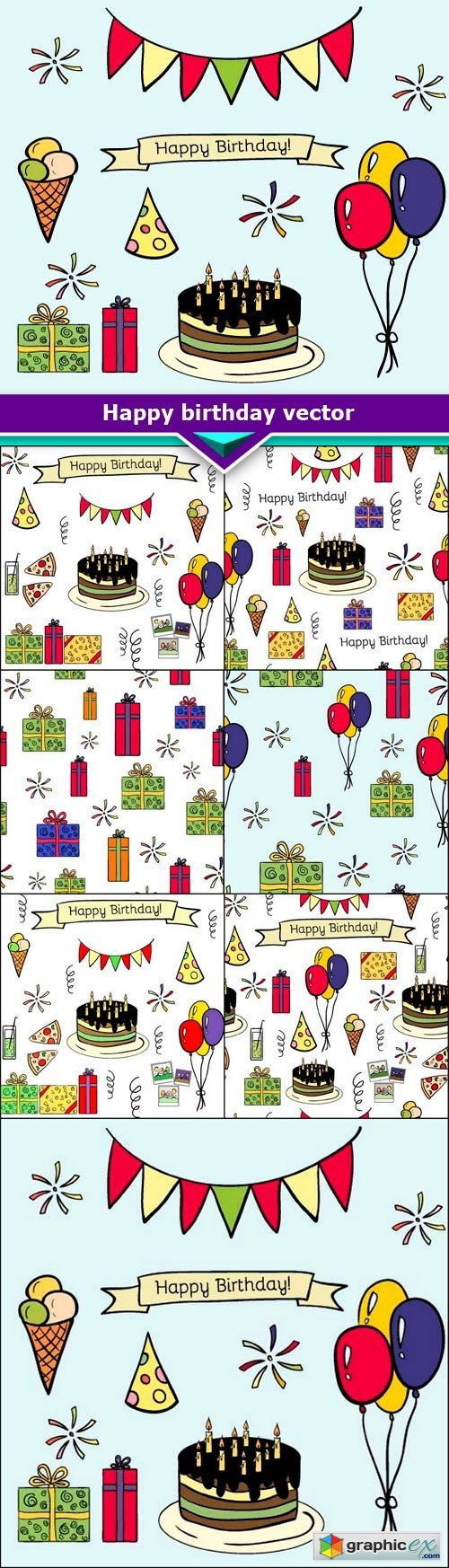 Happy birthday vector doodle hand-drawn seamless pattern of colorful 7x EPS