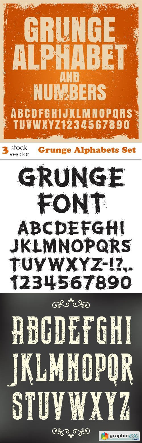 Vectors - Grunge Alphabets Set