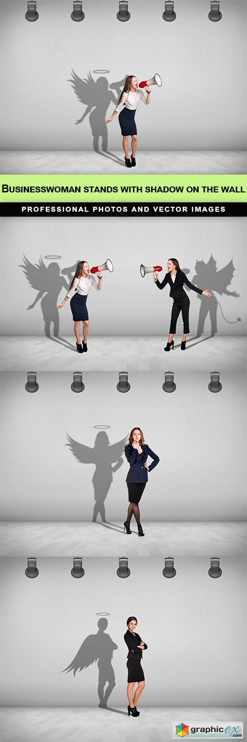 Businesswoman stands with shadow on the wall - 4 UHQ JPEG