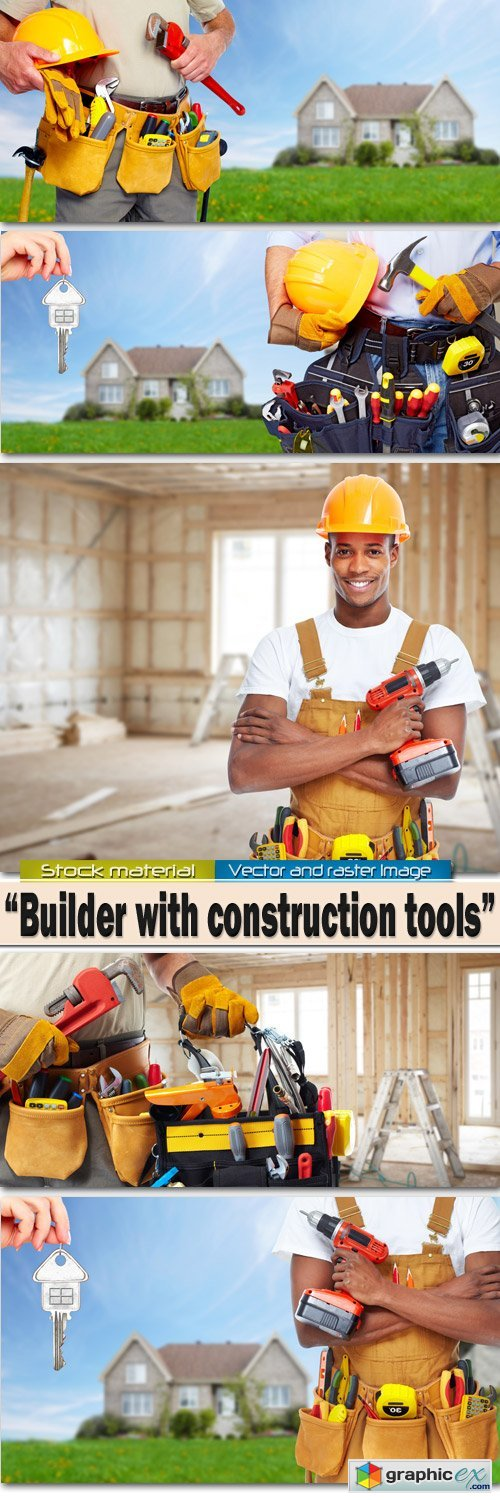 Builder with construction tools