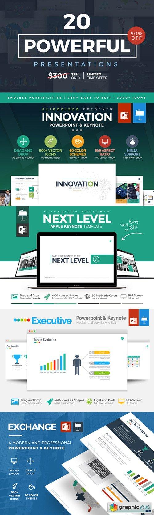 20 powerful presentations bundle free download vector stock image