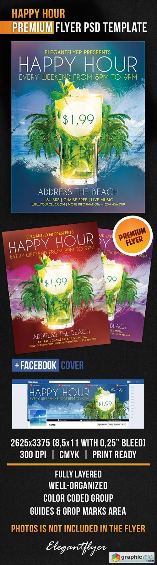 Happy Hour Flyer PSD Template + Facebook Cover