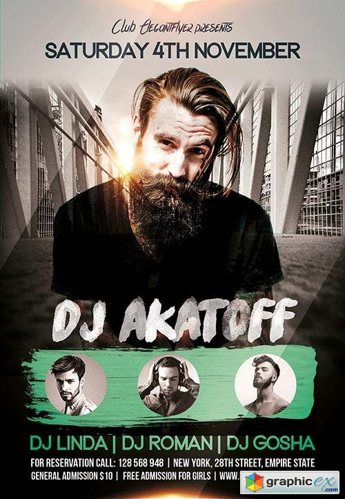 DJ Akatoff Flyer PSD Template + Facebook Cover