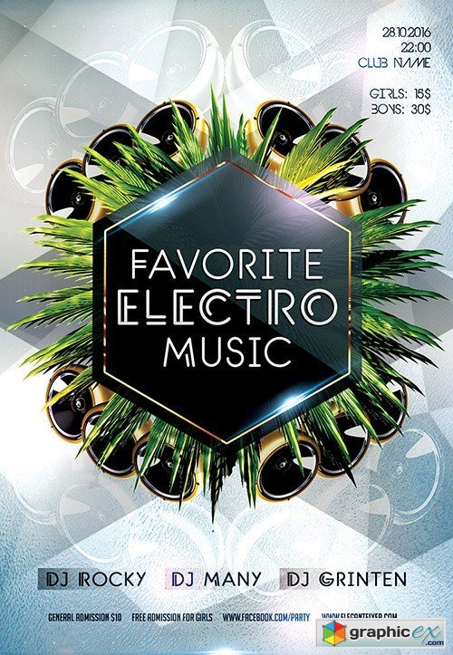 Favorite Electro Music Flyer PSD Template + Facebook Cover