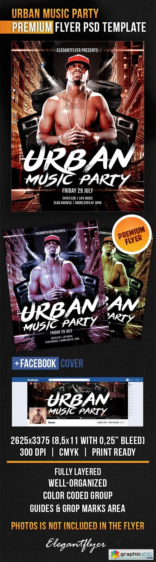 Urban Music Party Flyer PSD Template + Facebook Cover