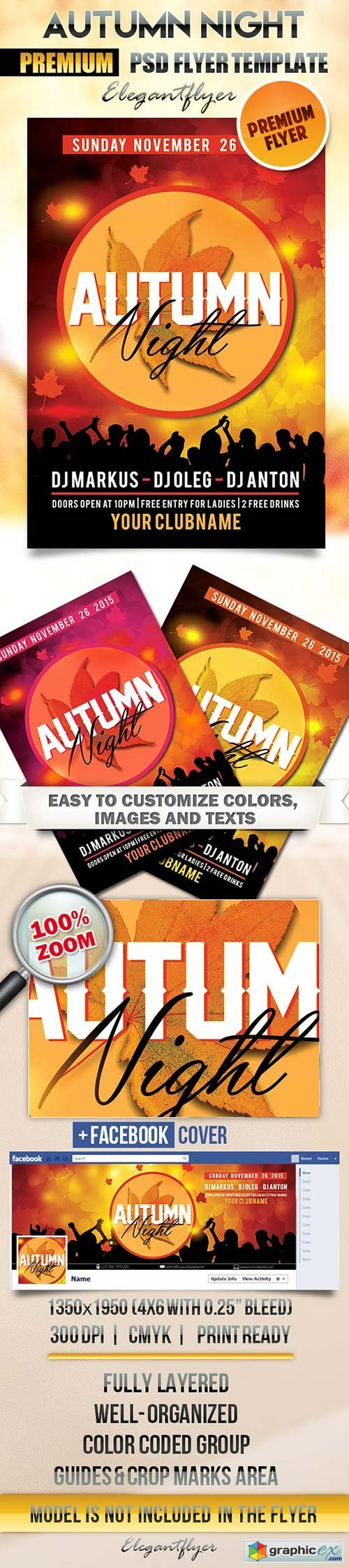 Autumn Night Flyer PSD Template + Facebook Cover
