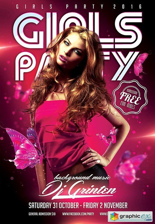 Girls Party Flyer PSD Template + Facebook Cover
