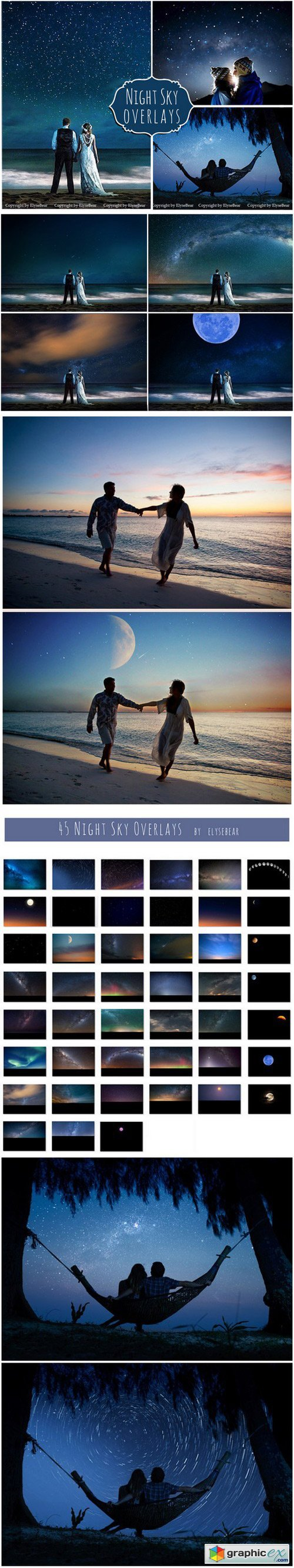 45 Night Sky Photoshop Overlays