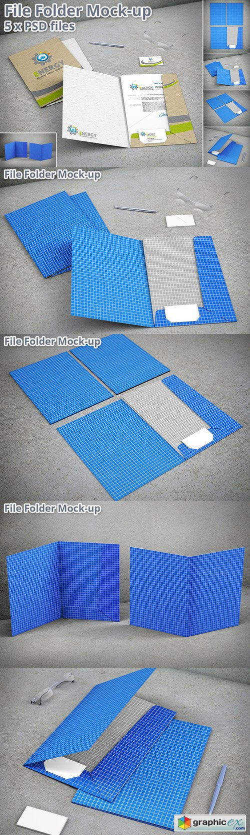 Stationary File Folder Mockup 5xPSD
