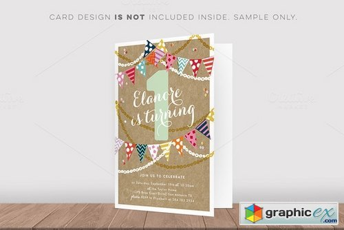 Folded Invitation Front Mockup Free Download Vector Stock