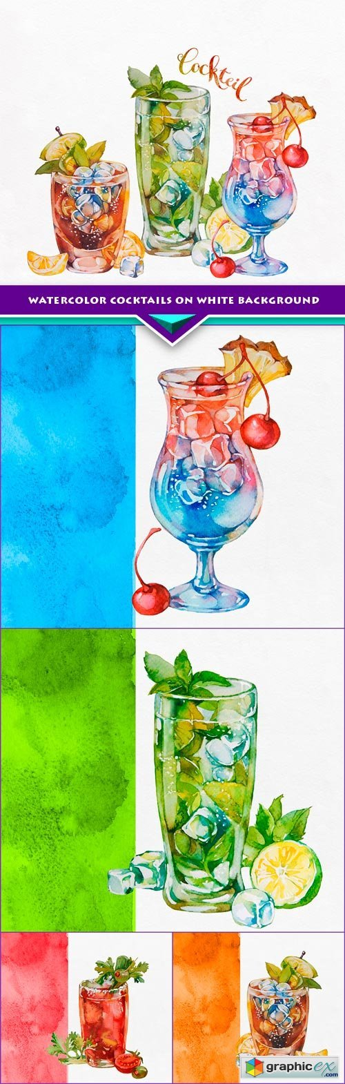Watercolor cocktails on white background 5x EPS