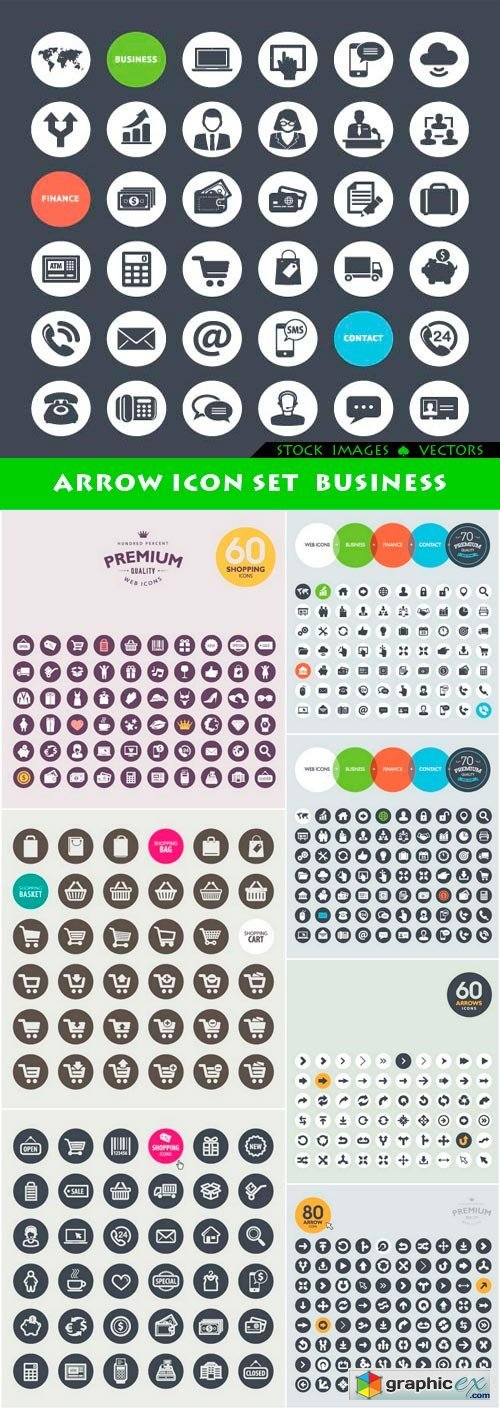 Arrow icon set business 8x EPS