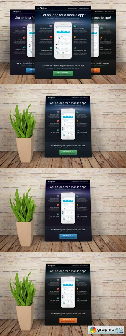 Mobile App Flyer Template - 187638